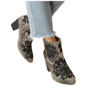 Free People Night Out Velvet Bootie Grey Embroidered Beaded Sequin Size 39 US 9